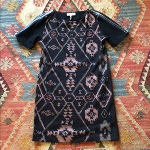 Sandro Printed Zip Sleeve Dress